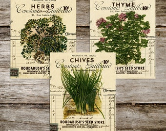 Vintage Style Antique Seed Packet French Ephemera Print Set from Curious London