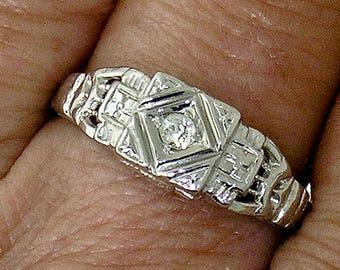 DECO Diamond Engagement Ring~Art Deco Diamond Engagement Ring in 14k White Gold