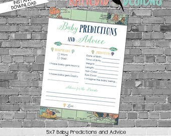 baby shower games printable baby predictions stats advice 1466 world map hot air balloons digital gender sprinkle rustic chic navy gold mint