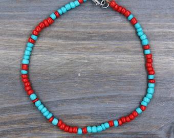 turquoise ankle bracelet, beaded ankle bracelet, turquoise anklet, summer anklets, beach ankle bracelets, foot bracelet, beach jewelry boho