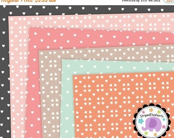 40% OFF SALE Heart Digital Papers Pink, Orange and Mint, Hearts Digital Scrapbook Paper Pack, Instant Download, Commercial Use