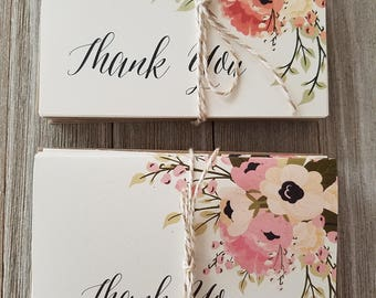 Bridal Shower Thank You Cards, Rustic Country Thank You Notes, Set of 15 Thank You Cards
