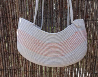 Cotton Rope Bag: Over the Shoulder, Hand Bag, Carry All,  Unbleached, Natural, Sewn Purse, Fiber, Clothesline
