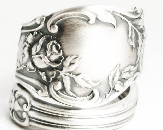 Rose Flower Ring, Sterling Silver Spoon Ring, Chunky Flower Ring, 925 Tea Rose Ring, Antique Gorham Montclair ca 1910, Gift for Her  (7023)