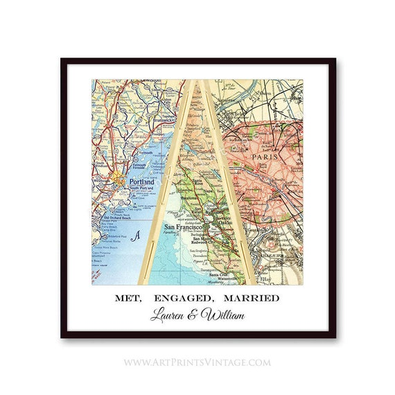 Love Story Map Art Personalized Wedding Gift for Couple