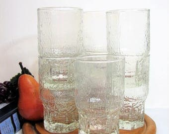 """Double Old Fashioned Glasses, Mid-Century Tree Bark Highballs, Icicle Textured Tumblers 5 3/4"""" 14oz, Set of 4, 5 or 9 ... Vintage Barware"""