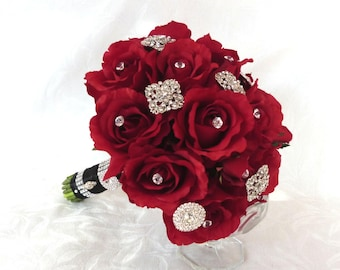 Reserved Silver and rhinestone brooch bouquet with red roses bouquet set