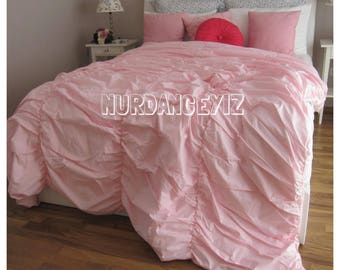 Shabby chic Ruched bedding Duvet cover Full Queen Super King 120x120 - white purple pink Turkish cotton custom Bohemian bedding Nurdanceyiz