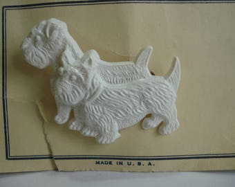 Vintage 40's Brooch 2 White Dogs made in USA