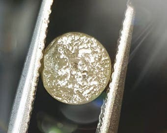 1ct 5.95mm Raw Champagne diamond round cut like druzy 5.95 by 3.4mm deep