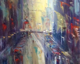 City at night Painting  abstract original art large painting 30 x 24""