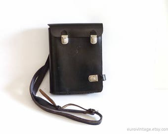 Vintage Police Leather Map Bag Briefcase Black Leather Crossbody Bag 70s