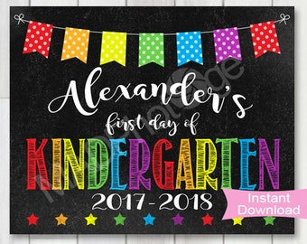 My First Day of Kindergarten Chalkboard sign, Personalized, Instant Download, 1st Day of School printable, Preschool graduation invite