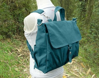 On Sale 20% off Teal green canvas backpack for men and women, multipurpose bag, canvas rucksack, travel bag, school bag, diaper bag