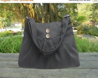 On Sale 20% off Black purse / cross body bag / messenger bag / shoulder bag / diaper bag  - cotton canvas, zipper inside pocket