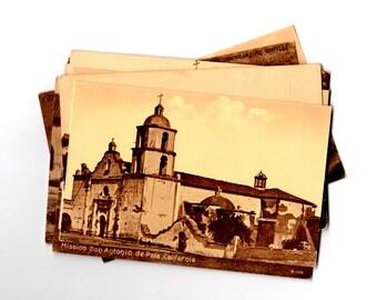 11 Vintage California Missions Unused Postcards Blank - Unique Wedding Guest Book, Reception Decor, Journal Supplies