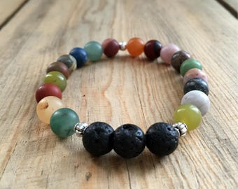 Multicolored Assorted Stones Essential Oil Diffuser Bead Bracelet