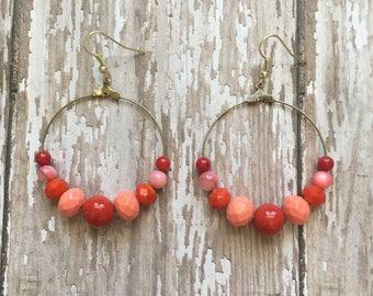 Berry smoothie beaded dangle earrings