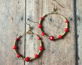Gorgeous red and gold beaded dangle earrings