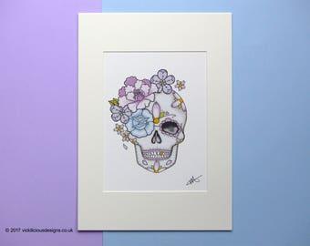 Peony And Rose Sugar Skull Tattoo Flash Illustration Print