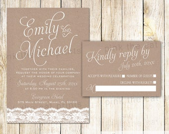 Rustic Wedding Invitation - Lace Wedding Invitation Card Lace Kraft Paper Wedding Invite Wedding Invitation Template With RSVP Card
