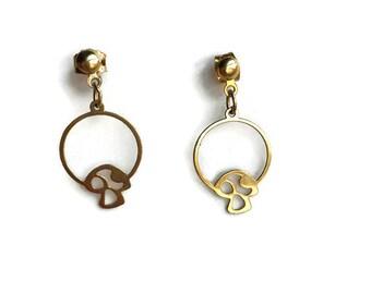 Vintage Mushroom Gold Tone Earrings