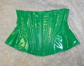 """Poison Ivy- PVC Corset 22"""" Green pvc Long underbust from Artifice Clothing (production sample)"""