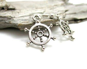 Silver Ship's Wheel Earrings - Nautical Jewelry - Boat Lover Earrings - Earrings for Sensitive Ears - Ship Lover Gift - Ship Helm