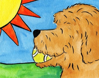 Whimsical apricot goldendoodle labradoodle  print   5x7