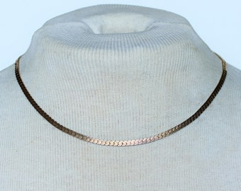 Vintage Signed NS Nickel Silver Rolled Gold Plated Flat Herringbone Chain Traditional Minimalist Princess Length Necklace