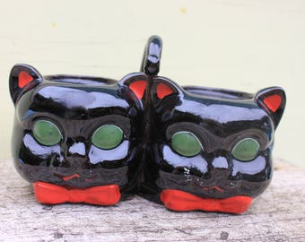 Vintage Shafford Redware Black Cat Jam and Marmalade Serving Dish, Condiments - Japan