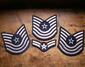 Vintage Military Rank Patches - Air Force Blue with White Embroidery