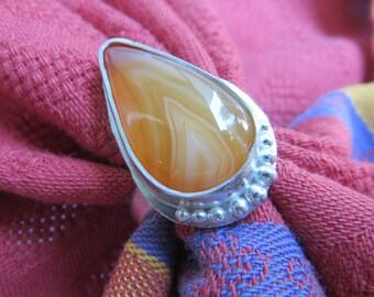 Flame Chevron Sardonyx Teardrop in Granulated Sterling Ring Size 8 & a Half