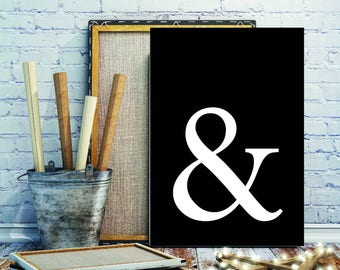 Ampersand on Black Modern Print Poster Contemporary Monochrome Design