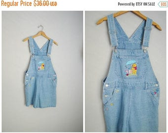 Summer SALE - 20% off - vintage 90s winnie the pooh denim jean shortalls disney overall shorts dungaree shorts -- womens medium