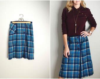 vintage 70s 80s pendleton knockabouts blue wool plaid kneelength wrap skirt -- womens medium