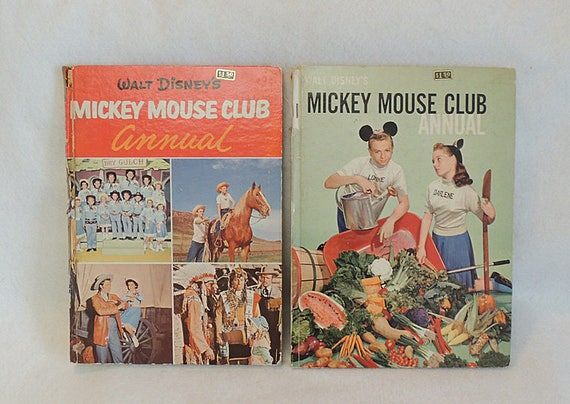 2 Vintage 1956-57 Walt Disney's Mickey Mouse Club Annual Children's Books