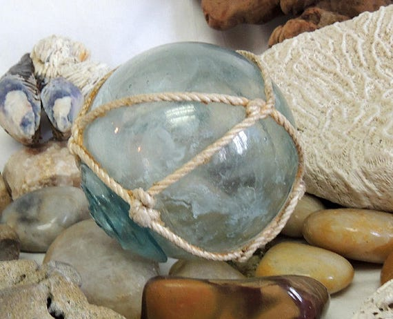 Rare Vintage Japanese Glass FISHING FLOAT Original Net & Makers Button Seal Mark (#6)