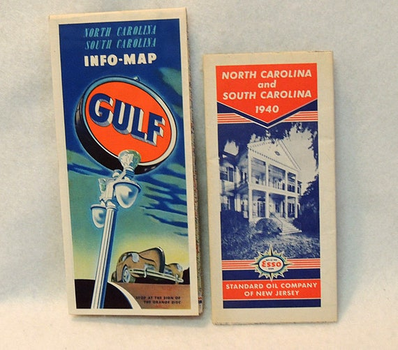 2 1940s Vintage Road Map.. North & South Carolina.. Gulf Info Map And Esso 1940