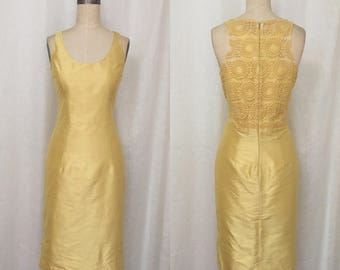 Lemon Yellow Racer Back Sheath Dress