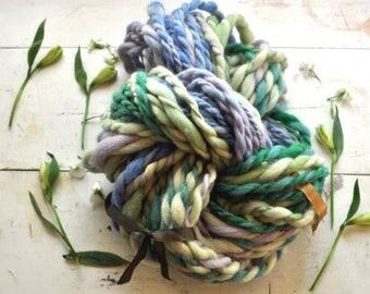 Yarn Handspun Super Bulky Thick n Thin Purple Green Dark Green Braided Look Hand dyed Wool Knitting Crochet Supplies Yospun
