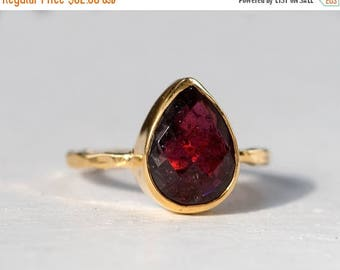 40 OFF - Garnet Ring - January Birthstone Ring - Gemstone Ring - Stacking Ring - Gold Plated - Tear Drop Ring
