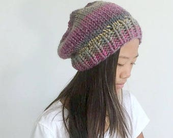 Chunky Slouchy Hat,Winter Hat,Autumn Hat,Slouchy Beanie,Girl's Winter Hat,Stylish Hat,Boho Hat//The Chelsea Hat in Carnival