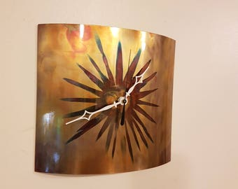 Flame Painted Copper  Wall Clock