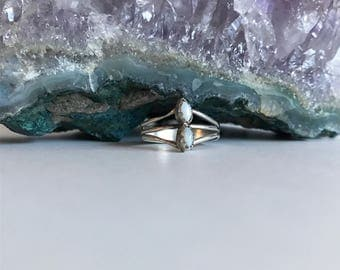 Dainty small sterling silver and white fire opal ring. Size 4.5.