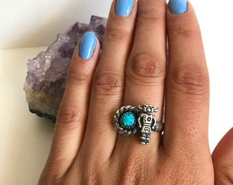 Sterling silver, Blue Cultured Opal, and Kachina Dancer Ring