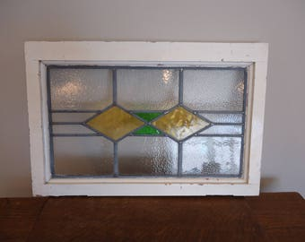 Vintage English stained glass window, antique window, retro stained leaded glass window,green and yellow stained glass