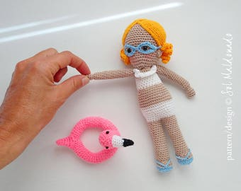 Amigurumi Crochet Doll Pattern - Aqua Swimming Girl PDF - Instant Download