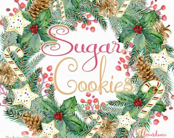 Sugar cookie clipart, cookie wreath clipart,cookie bouquet png, christmas clipart, winter holiday clipart, watercolor clip art,greeting card
