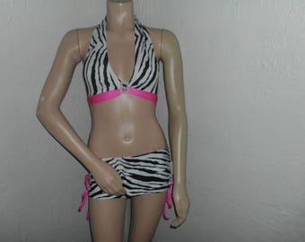rhinestone buckle ZEBRA mini skirt set pink accents uv glow blacklights NEON clubwear dress stripper exotic dancer pole dancewear
